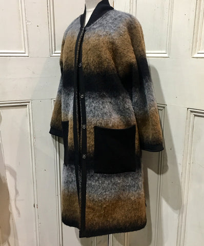 Italian Wool Coat Brindle Stripe