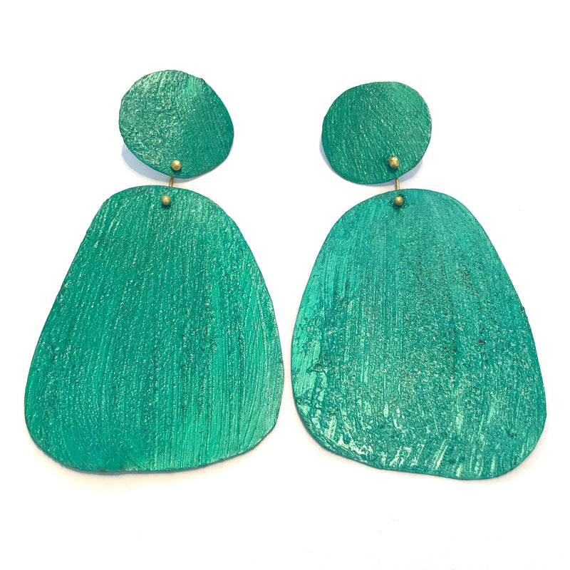 HD26 Green turquoise shape drop Earrings
