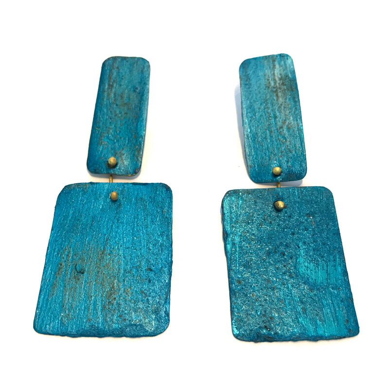 HD24 Green turquoise rectangle square pendant Earrings