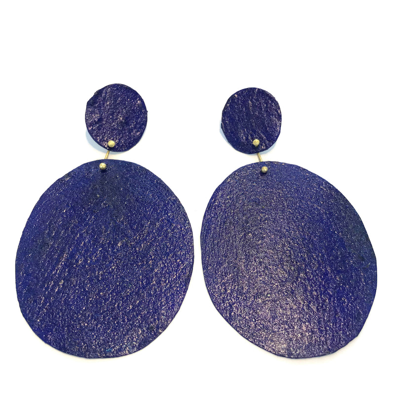 HD21 Blue big circle drop Earrings