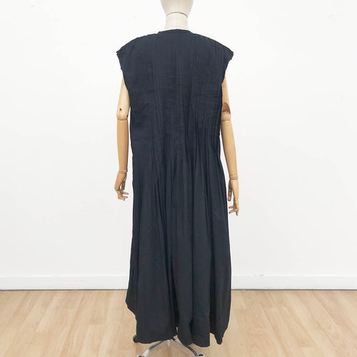 Ink Pleated Sleeveless Long Dress