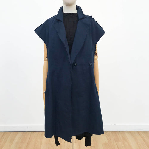 Navy Oversized Coat Vest
