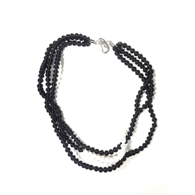 unknown, ML101 Black/white textured ball necklace - Tiffany Treloar