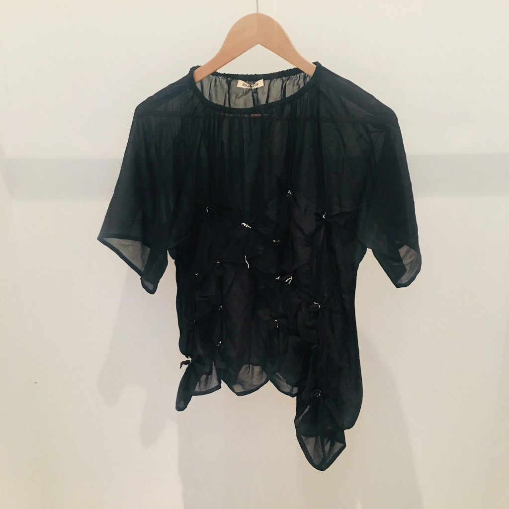 Georgette Knot Top Black