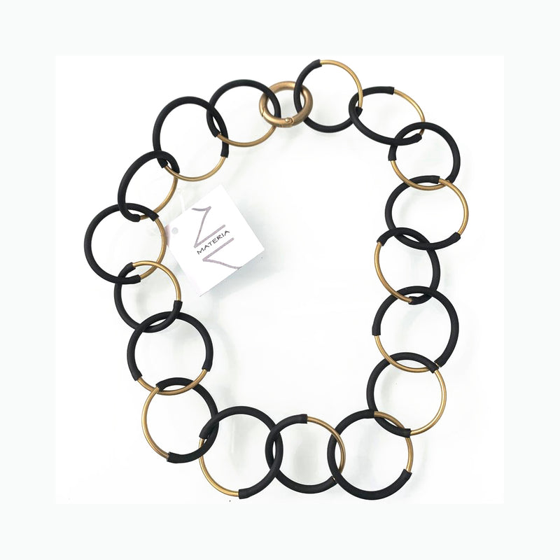 MD-464 Eclissi brass & black necklace