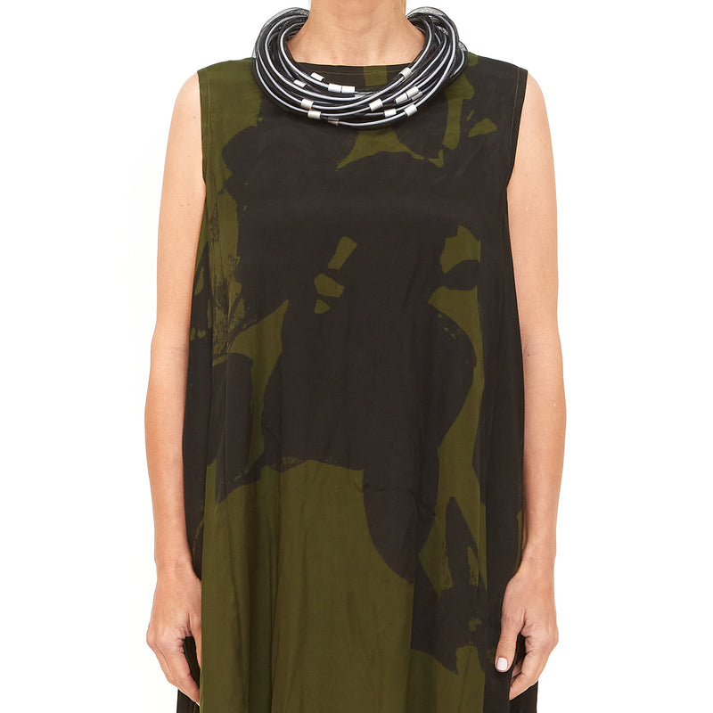 Moyuru, Green Dress with Black Print 201442-99 - Tiffany Treloar