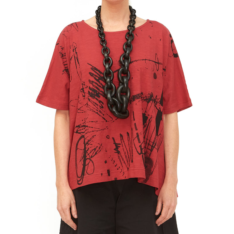 Moyuru, Red Top with Black Print 201008-59 - Tiffany Treloar