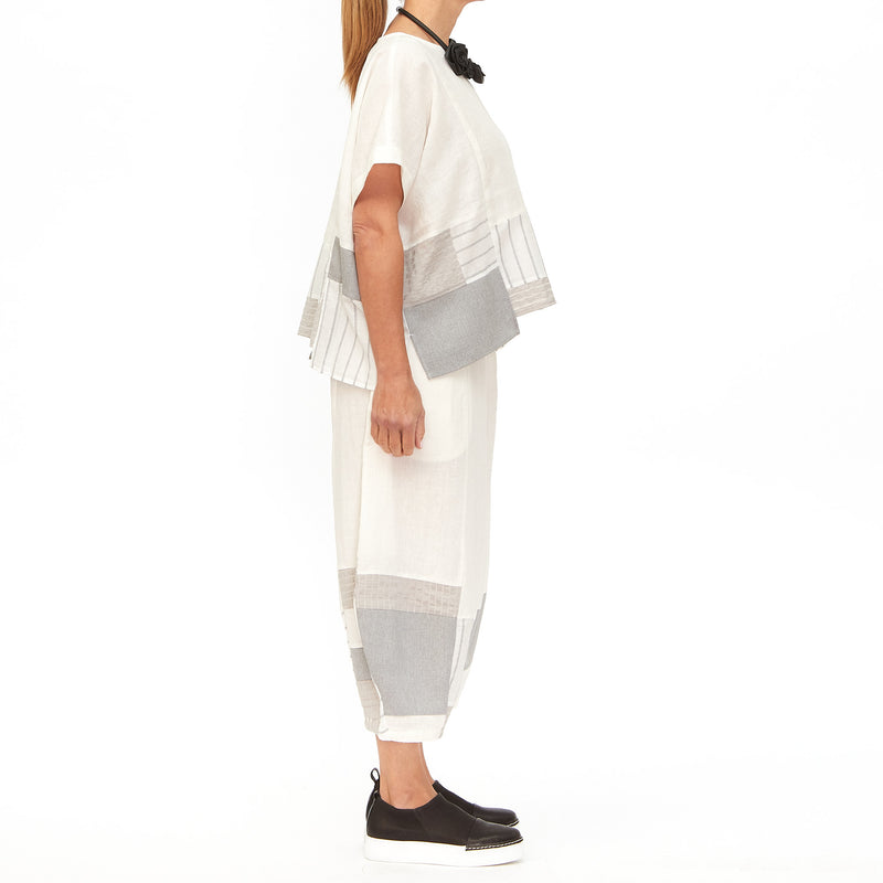 Moyuru, White Pant with Panels 201639-01 - Tiffany Treloar