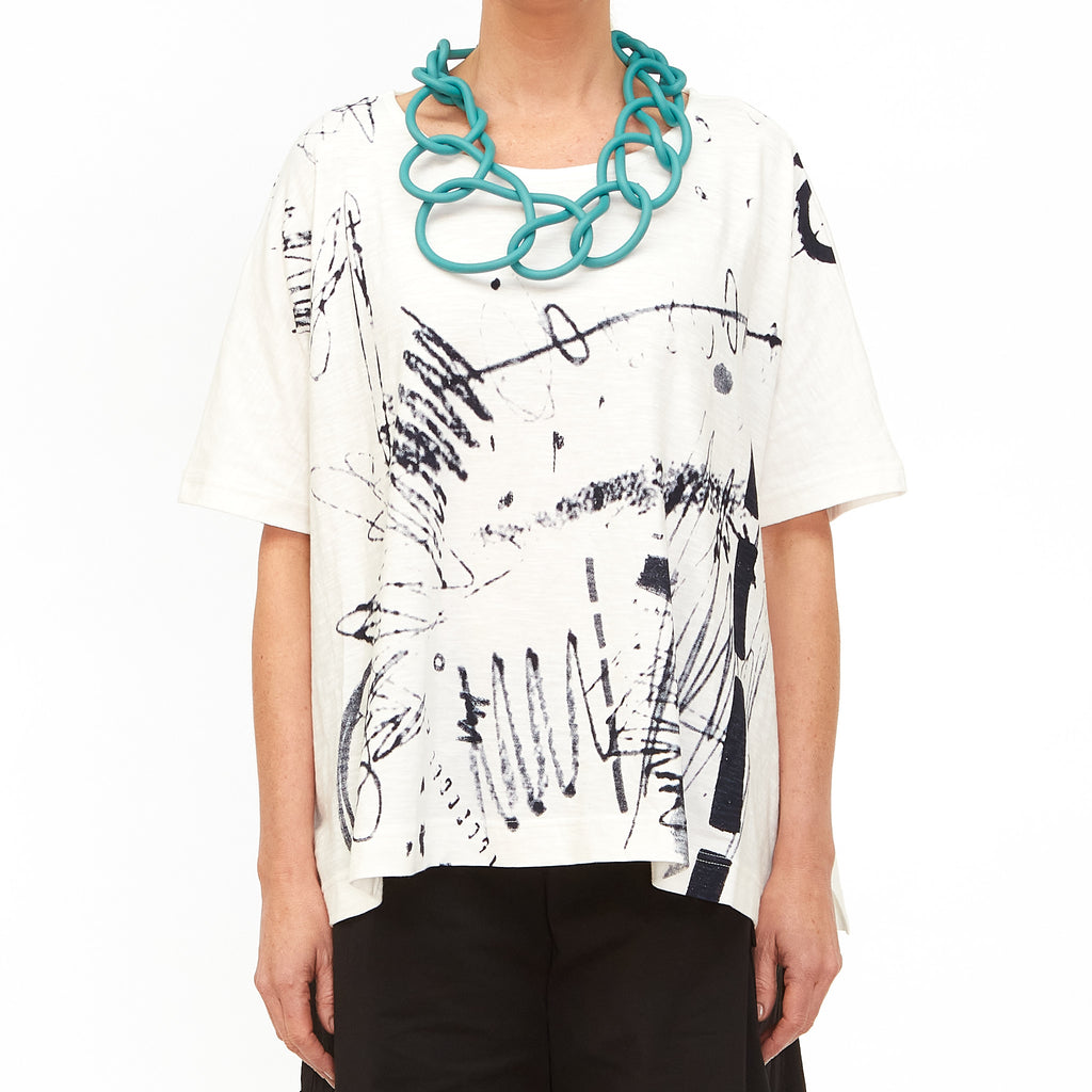 Moyuru, White Top with Ink Print 201008-05 - Tiffany Treloar
