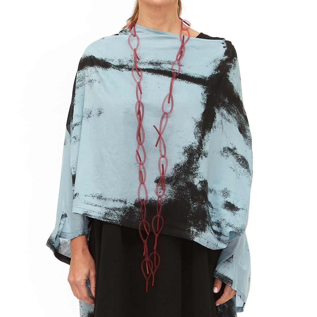 Moyuru, Blue Top with Black Print 201425-79 - Tiffany Treloar