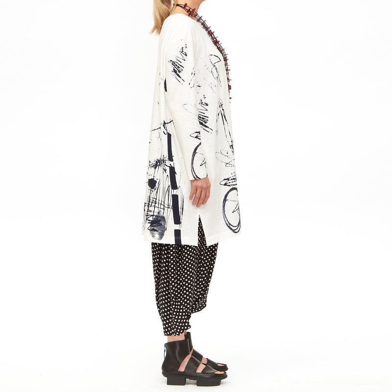 Moyuru, White Jersey Tunic with Ink Print 201007-05 - Tiffany Treloar