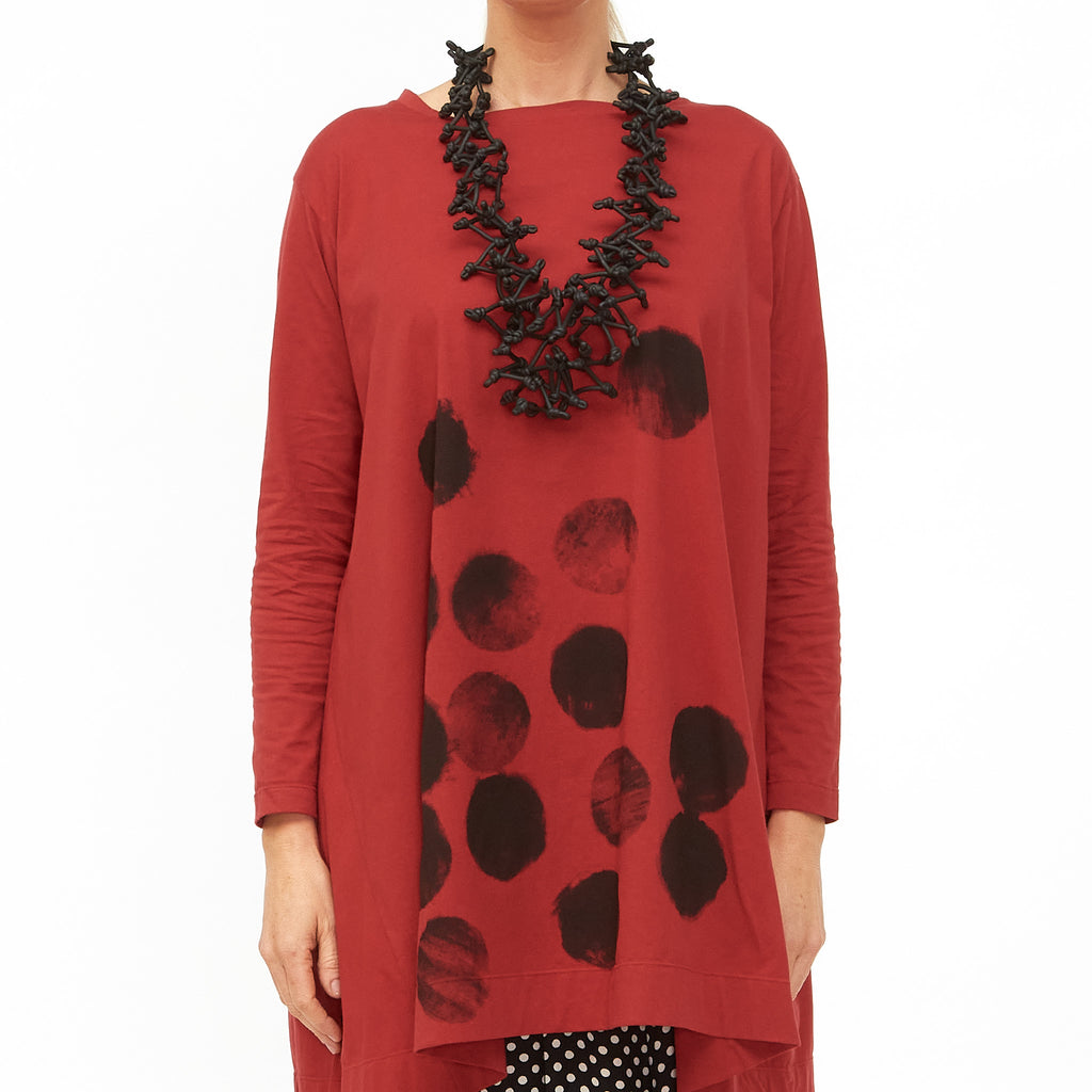 Moyuru, Red Tunic with Black Circles Print 201430-59 - Tiffany Treloar