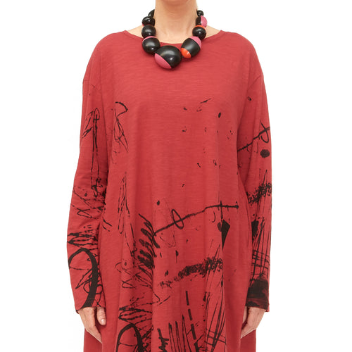Moyuru, Red Jersey Tunic with Black Print 201007-59 - Tiffany Treloar