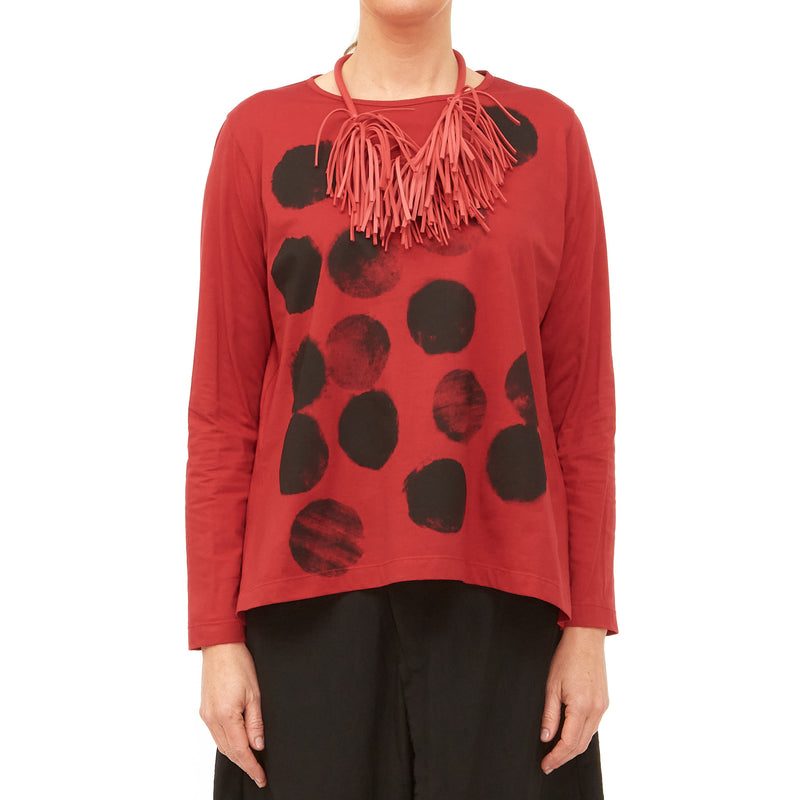 Moyuru, Red Top with Black Circles 201429-59 - Tiffany Treloar