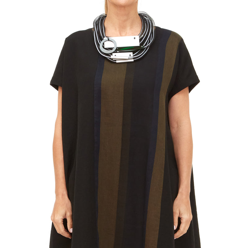 Moyuru, Navy Khaki and Black Stripe Dress 201645-79 - Tiffany Treloar