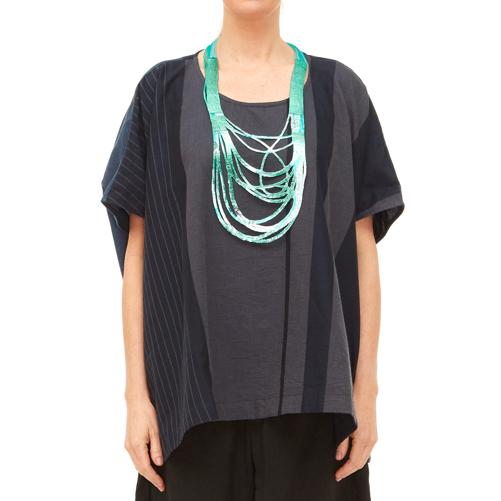 Moyuru, Blue, Indigo and Charcoal Stripe Top 201739-79 - Tiffany Treloar