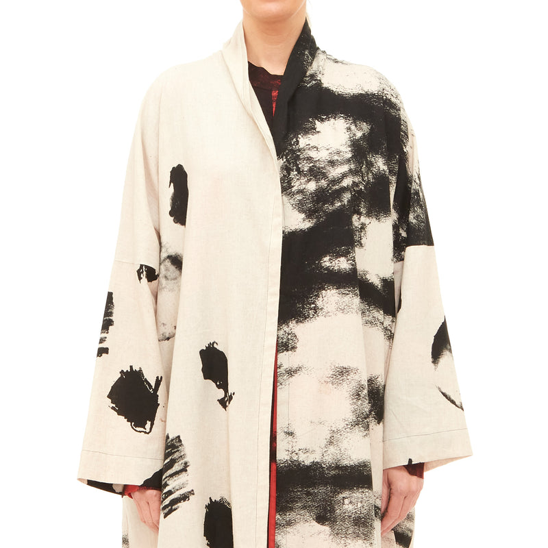 Moyuru, Natural Duster with Black Print 201441-29 - Tiffany Treloar