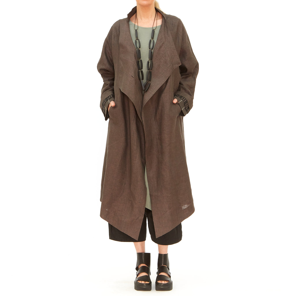 Moyuru, Brown Linen Duster 201615-30 - Tiffany Treloar
