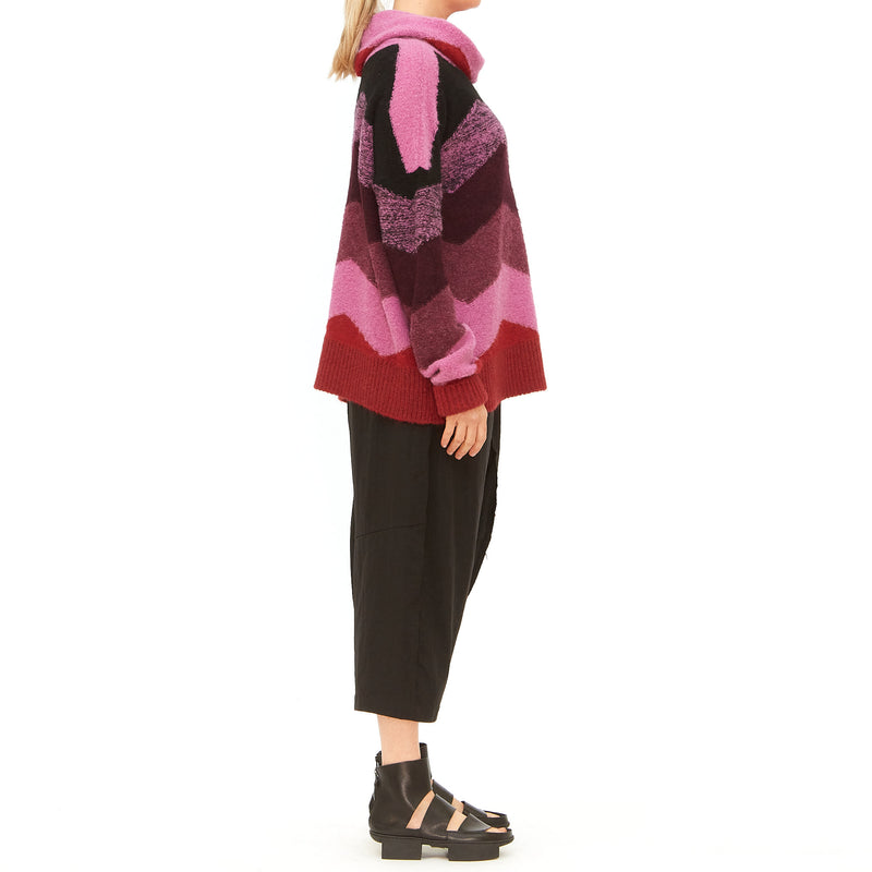 Lorena Laing, Striped pink chevron colab turtle neck knit sweater - Tiffany Treloar