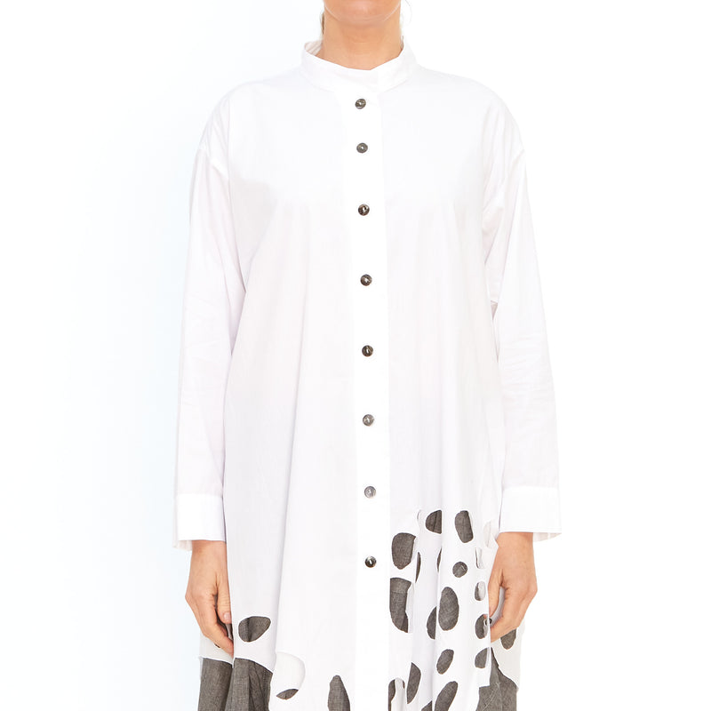 Moyuru, White Shirt with Embroidered Circles 201432-01 - Tiffany Treloar