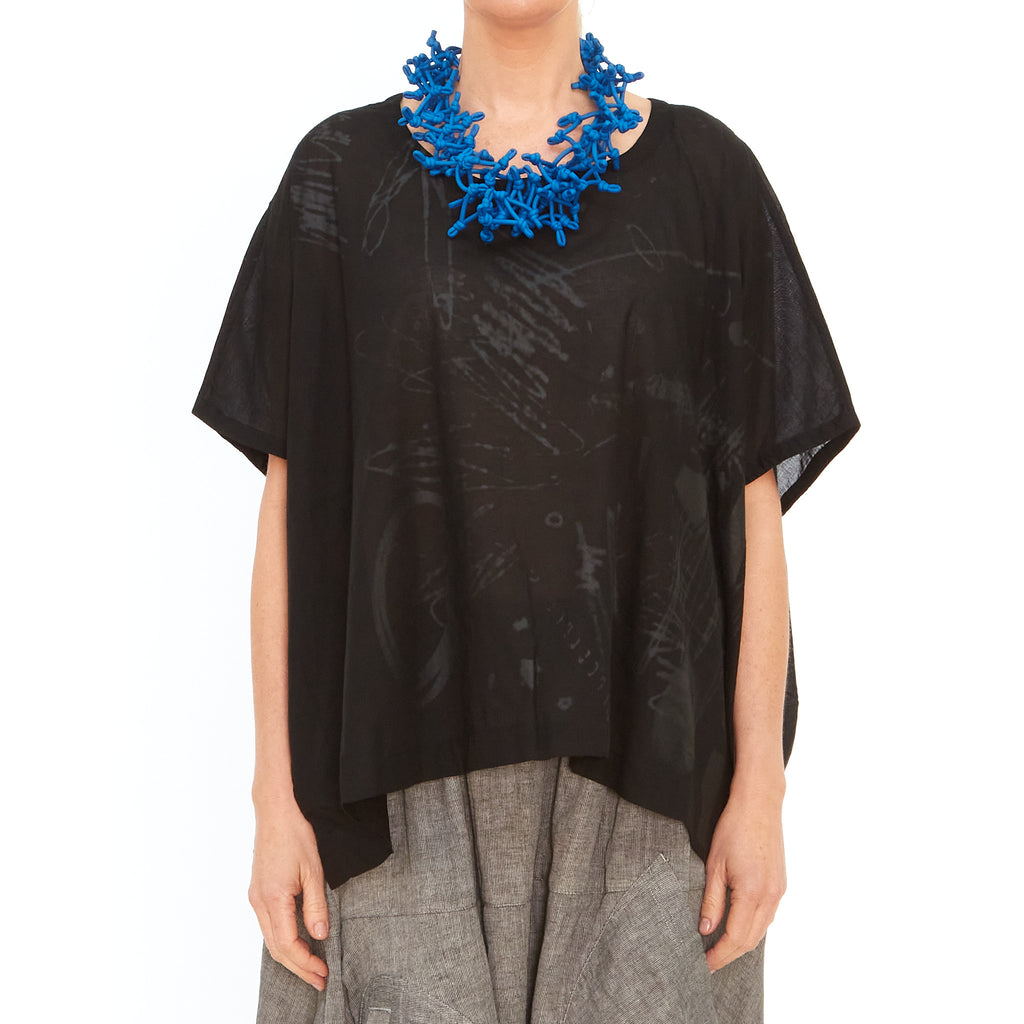 Moyuru, Black Box Top with Grey Print 201005-06 - Tiffany Treloar