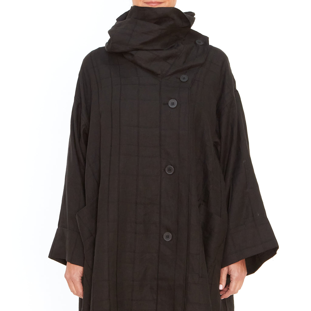 Moyuru, Black Linen Coat 201607-02 - Tiffany Treloar