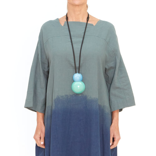 Moyuru, Green Dress with Blue Print 201423-99 - Tiffany Treloar