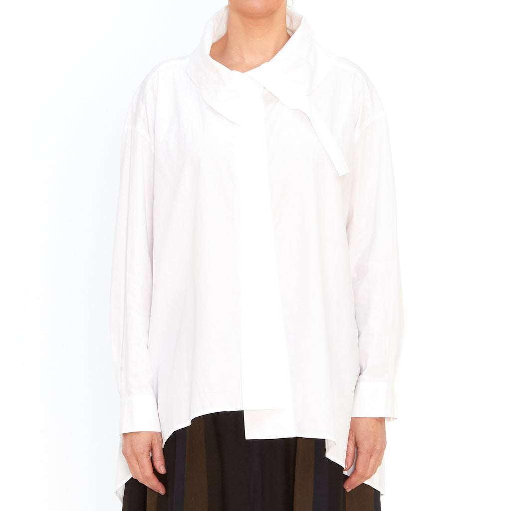 Moyuru, White Asymmetrical Shirt 201434-01 - Tiffany Treloar