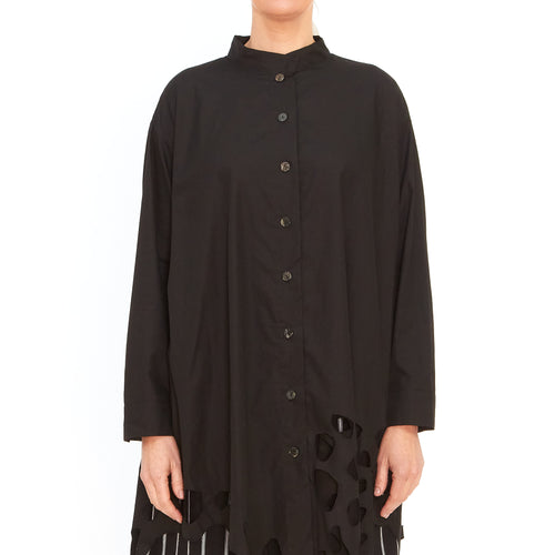 Moyuru, Black Shirt with Embroidered Circles 201432-02 - Tiffany Treloar