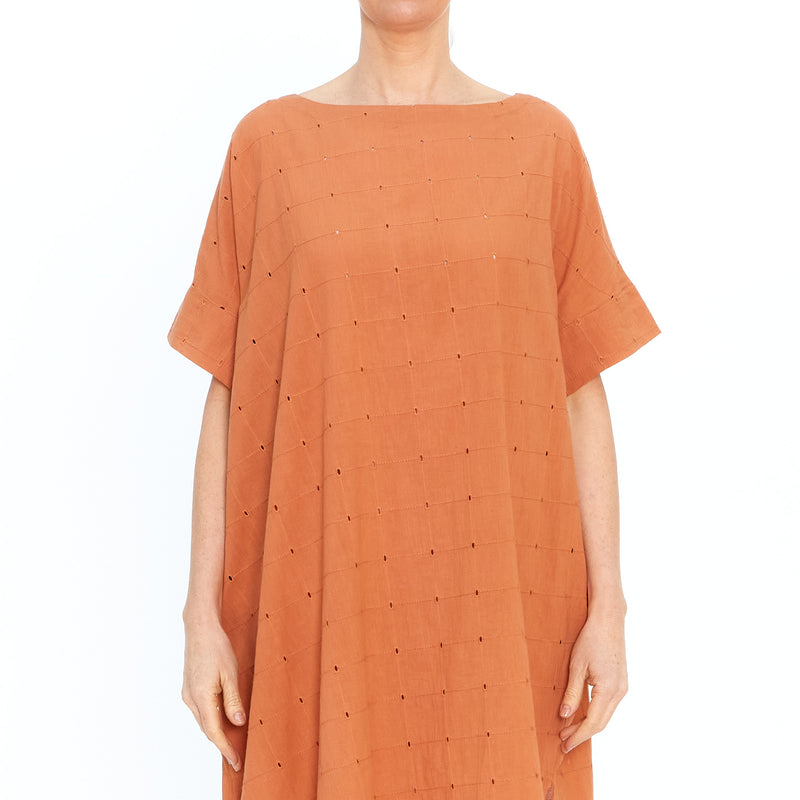 Orange Broderie Anglaise Dress 201712-44