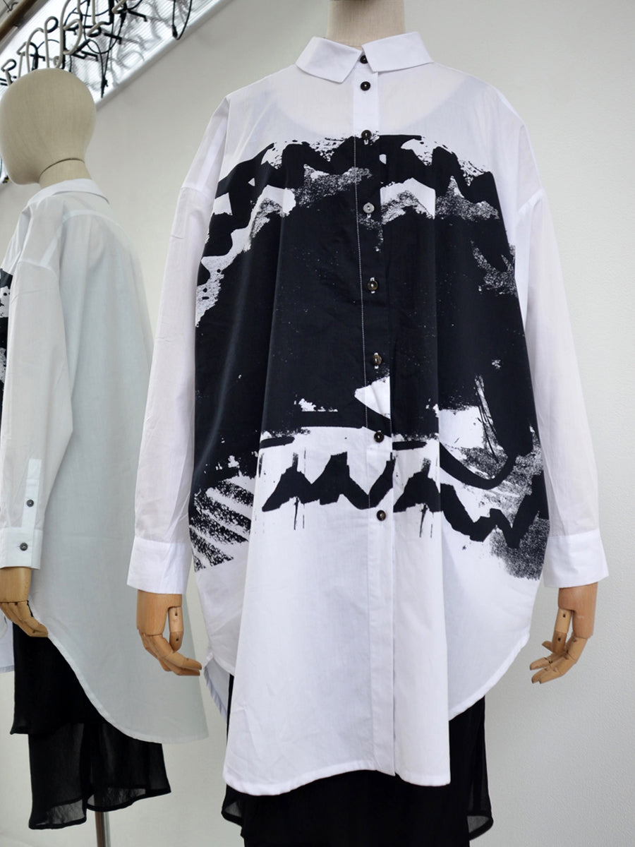 Moyuru white cotton shirt/black print 191408-01