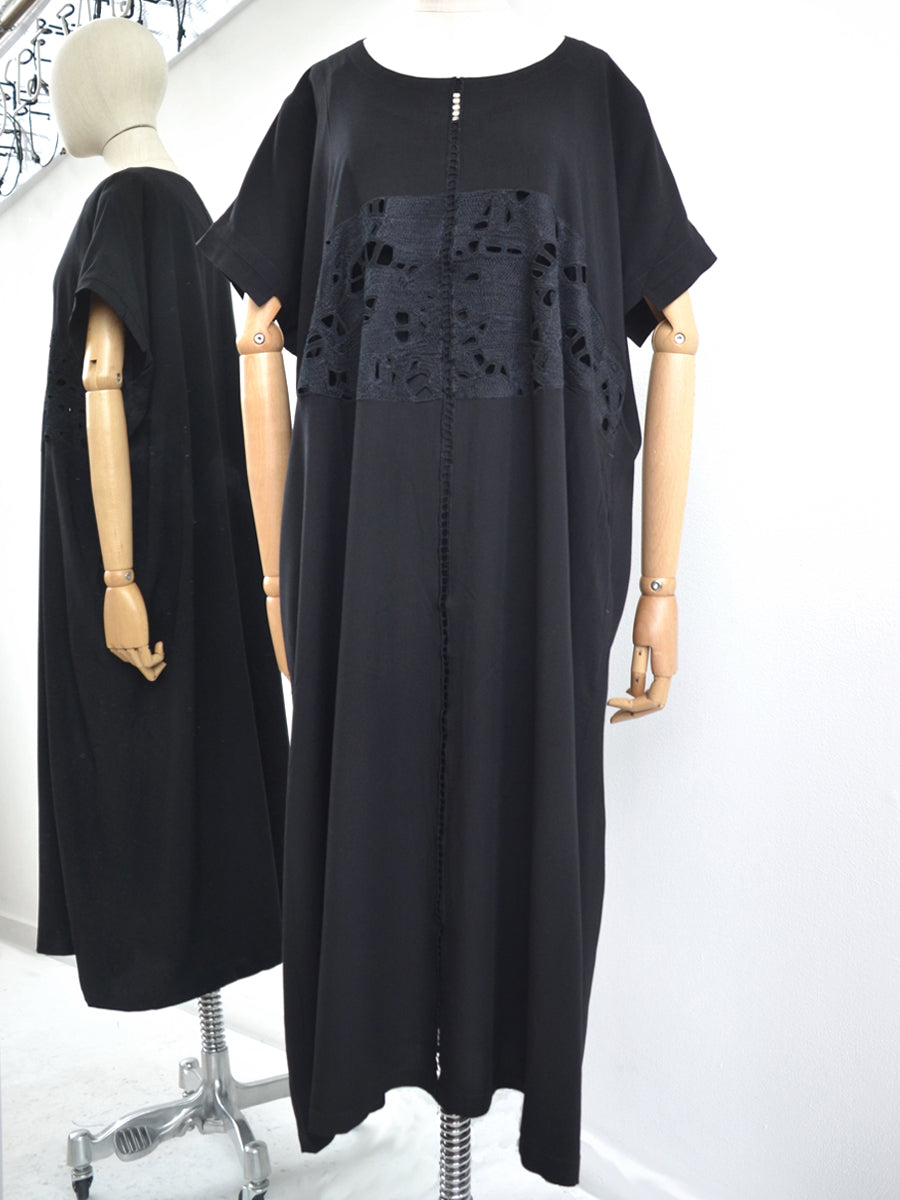 Moyuru Black Rayon Dress Lace Panel 191411
