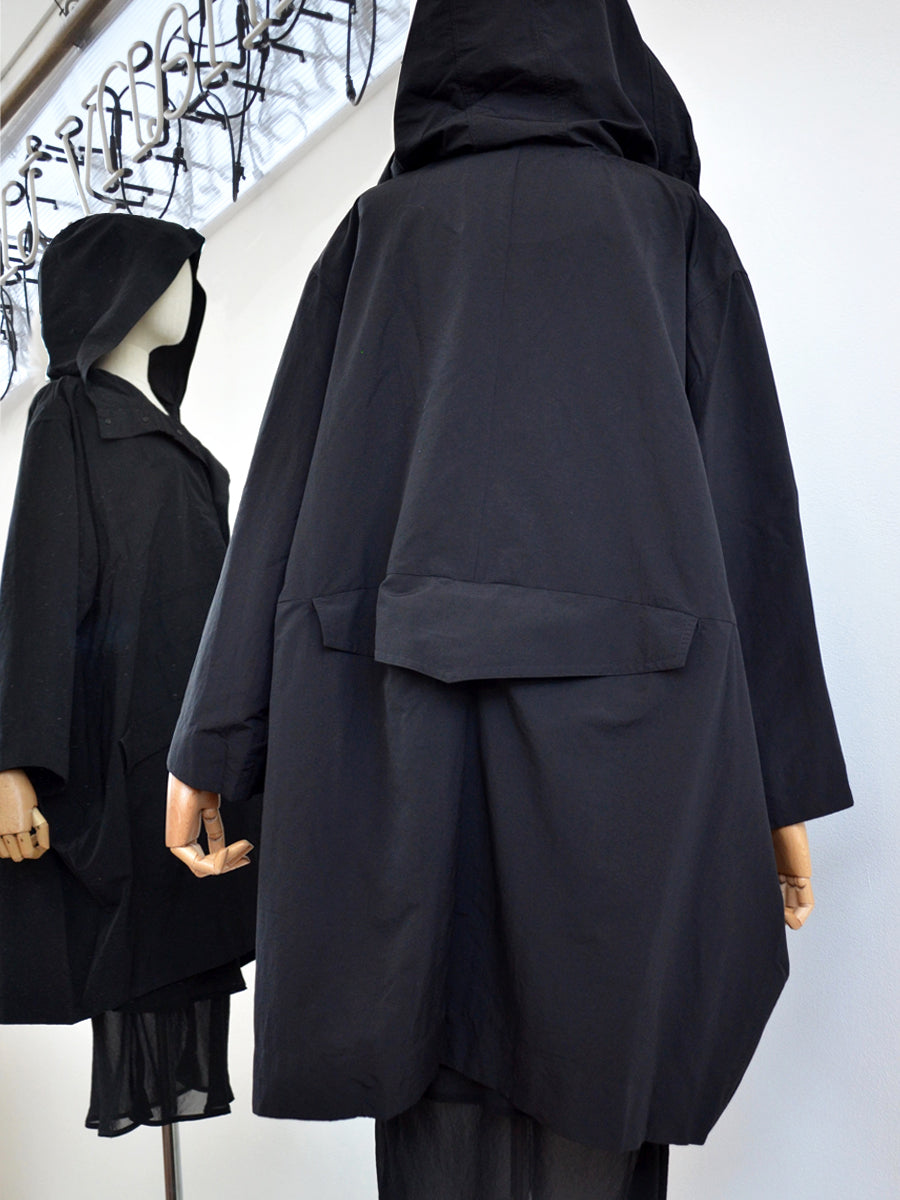 Moyuru Black Coat With Hood 191444 Back
