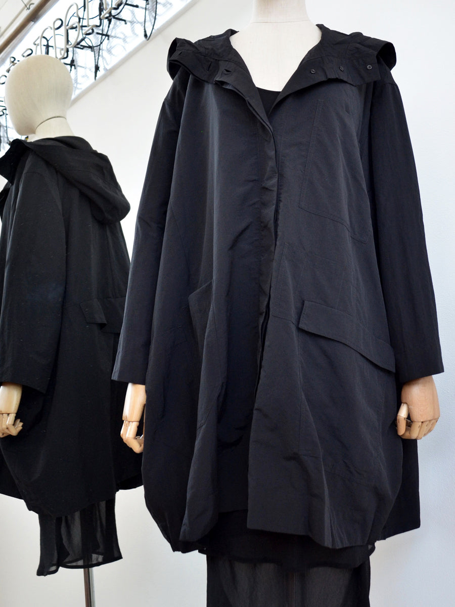 Moyuru Black Coat With Hood 191444 Front