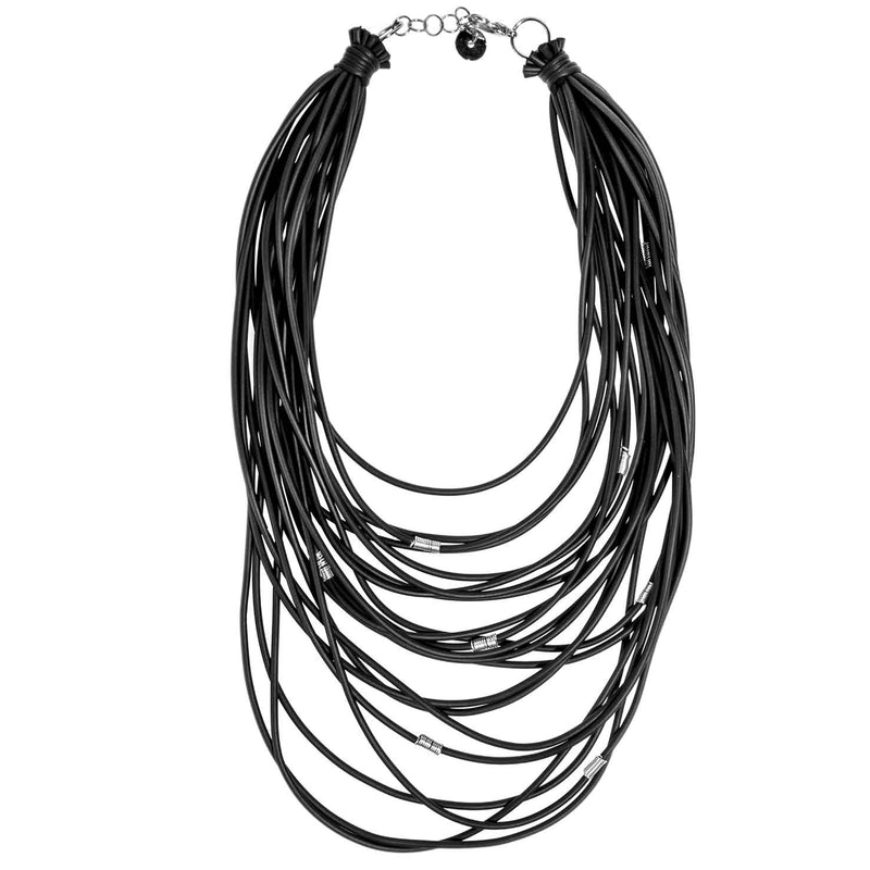 NEO443 Black Layered Metal Ring Necklace