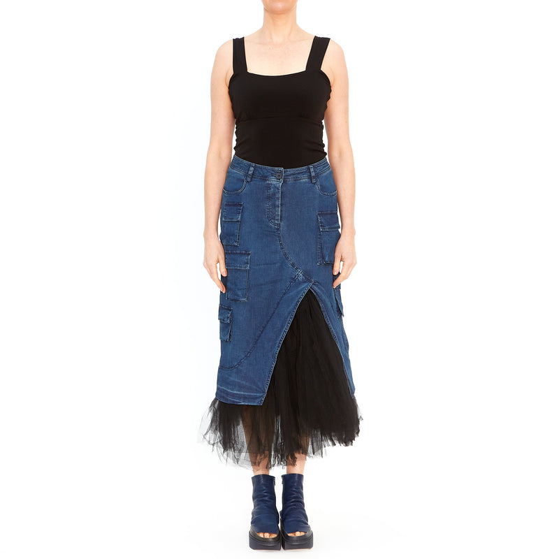 Skirt in Denim and Tulle 3610307-320