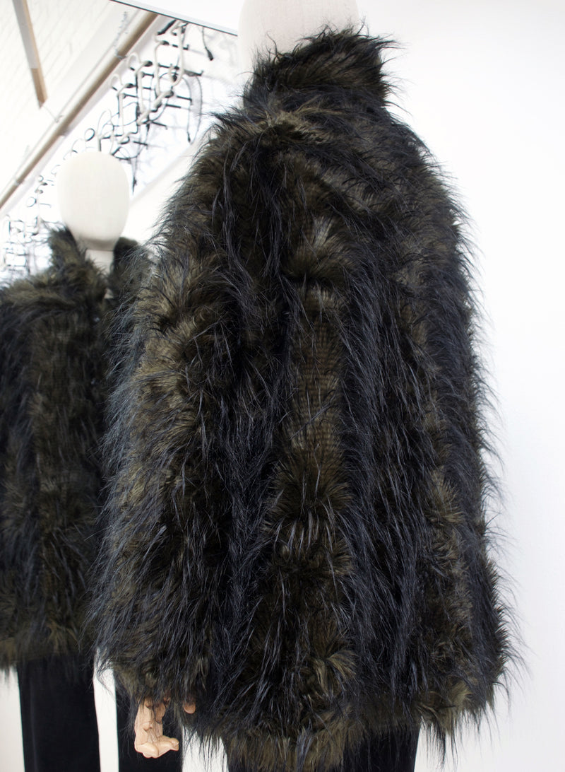 Rundholz Black Label Vert Melange Faux Fur Coat side 218-3601102-669