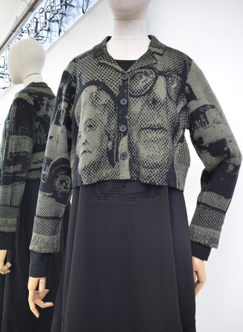 Rundholz Black Label Vert Print Copped Cardigan 218-3387104-662