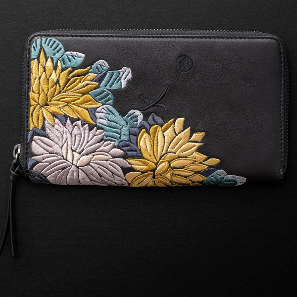 Lotus XL Zipped Wallet Licorice/Teal/Gold