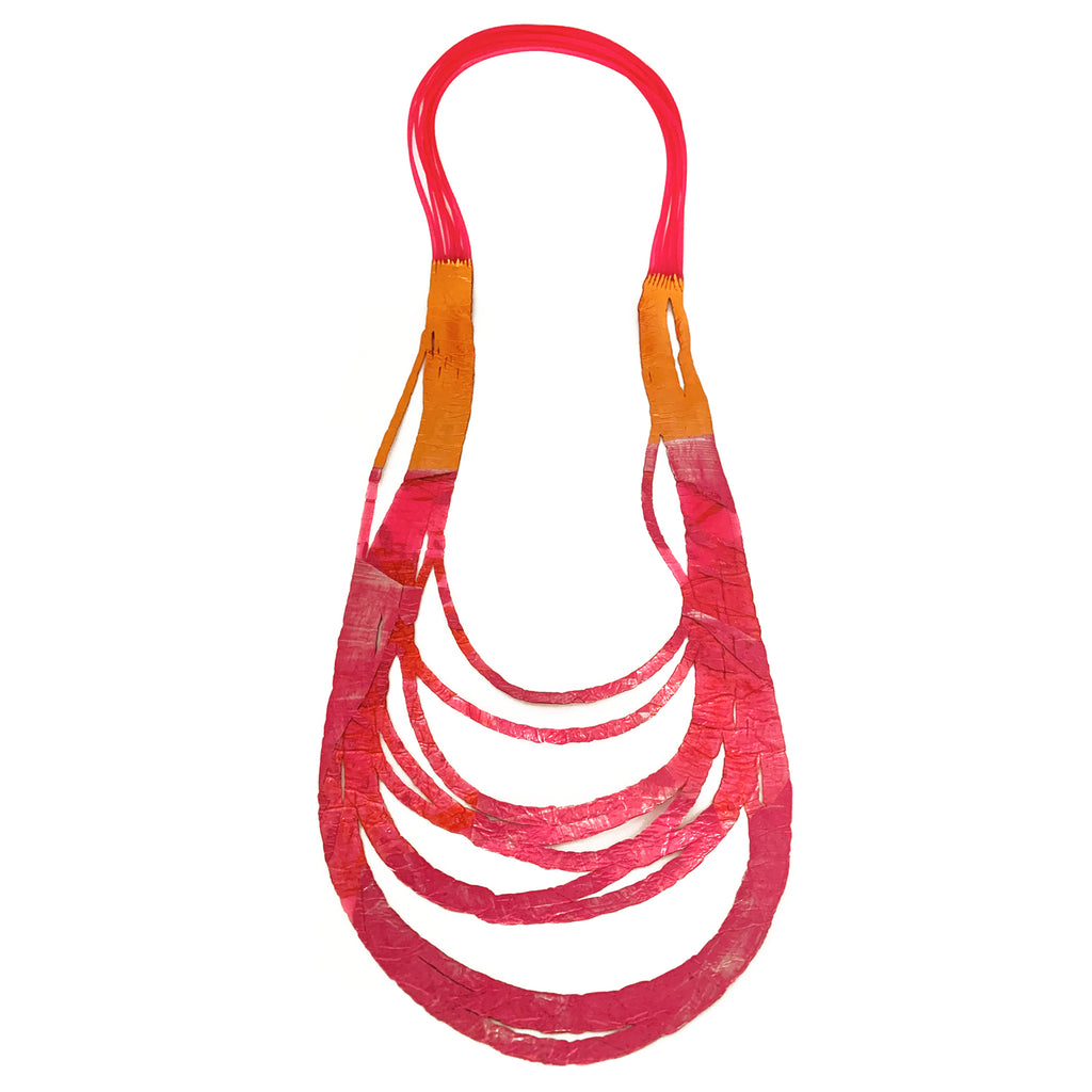 Sabato Isabel, SI01 Fuchsia/Orange Long Necklace - Tiffany Treloar