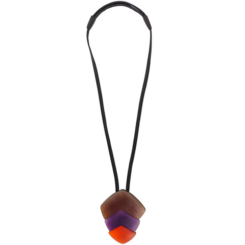 Monies Multi Coloured Pendant On Leather Necklace