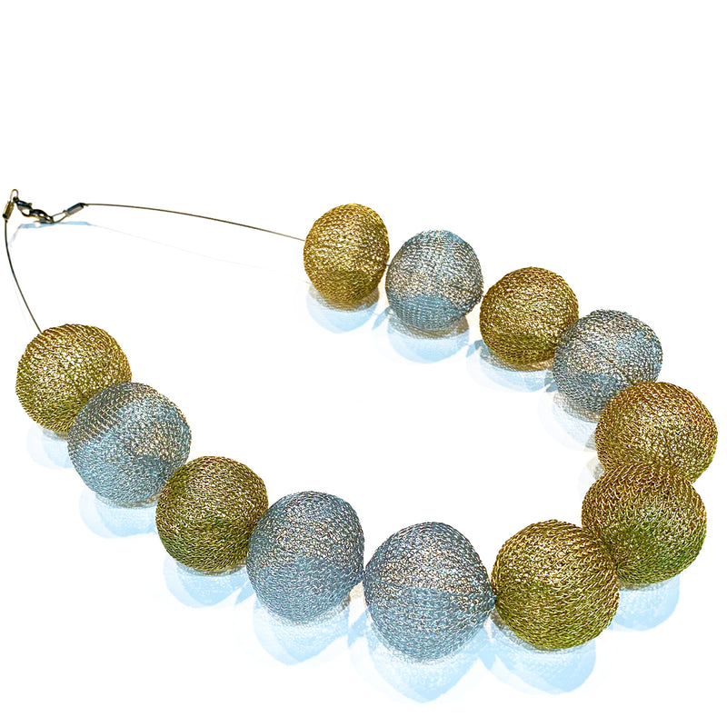 Soninke silver/gold ball necklace C3