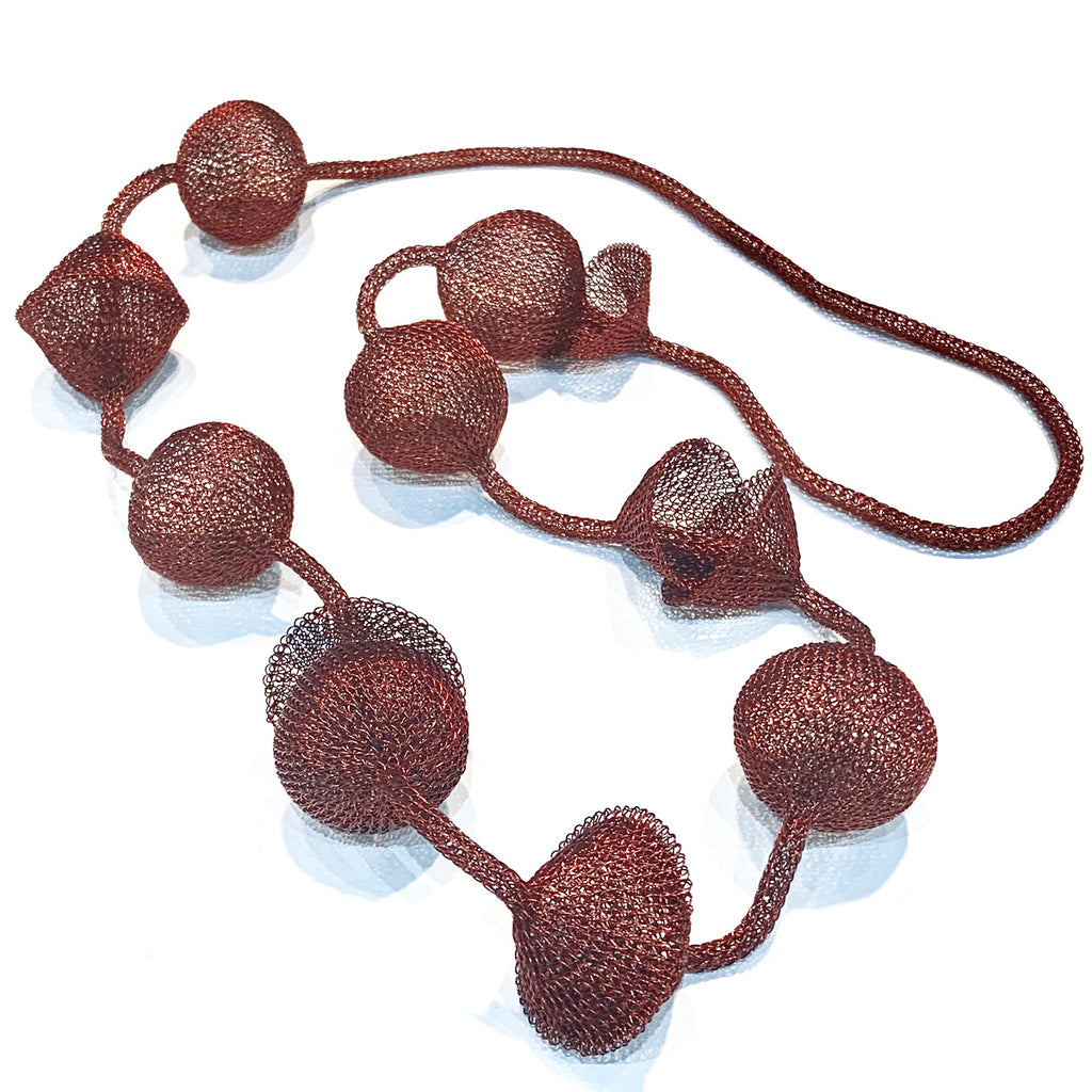 Soninke dark copper ball necklace C21