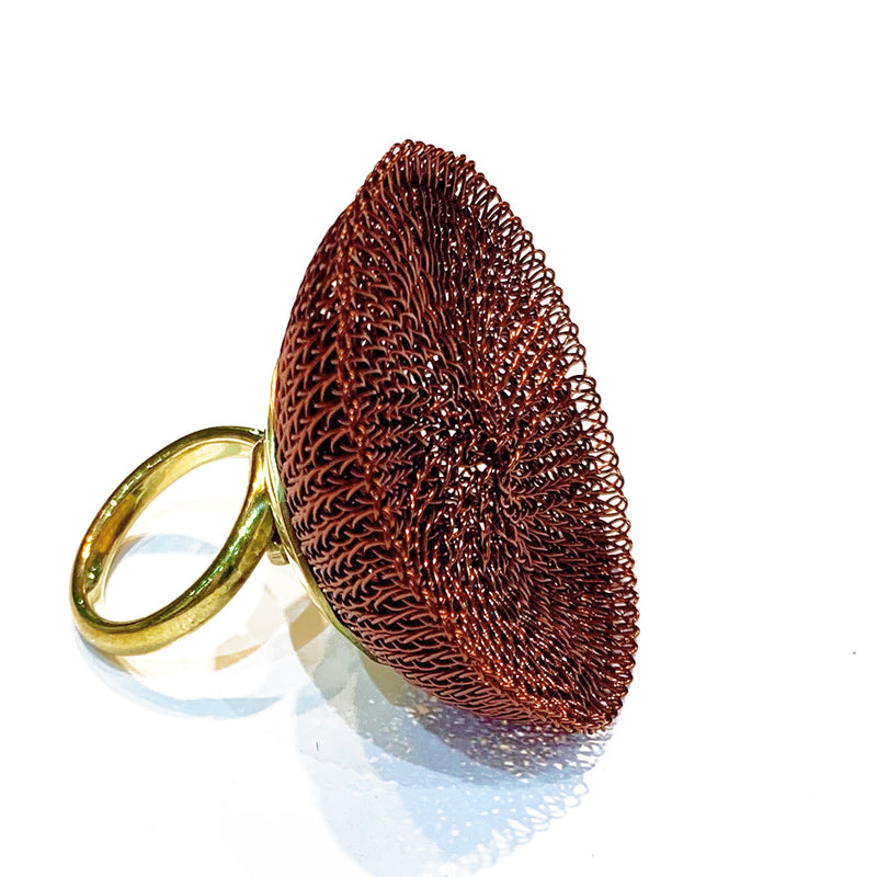 Soninke dark copper mesh ring BA22