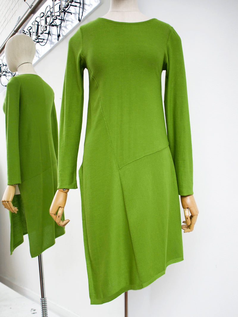 Lurdes Bergada, Asymmetric Sweater Dress Green LB M19-910 - Tiffany Treloar