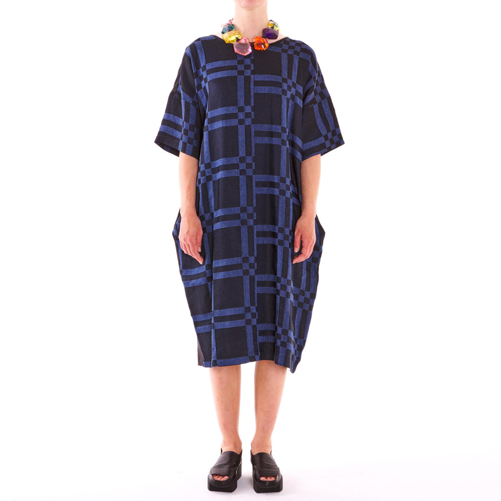 Checkerboard Blue Linen Dress