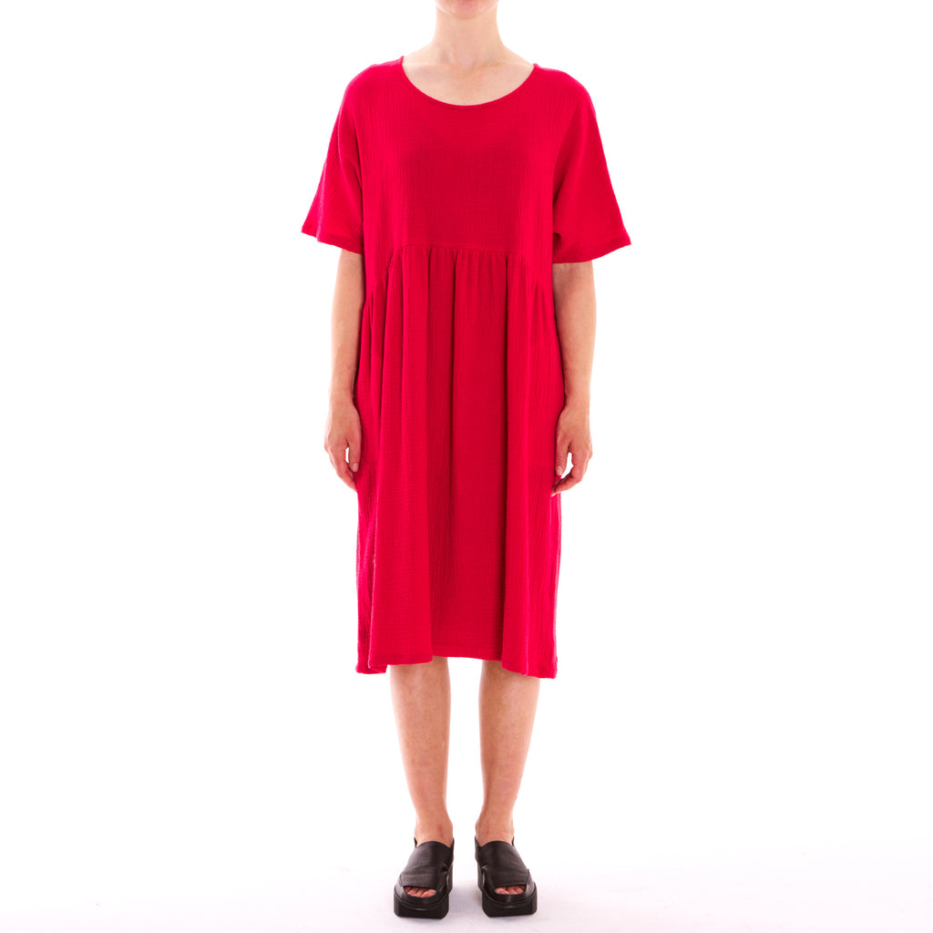 Half Moon Red 3/4 Cotton Dress