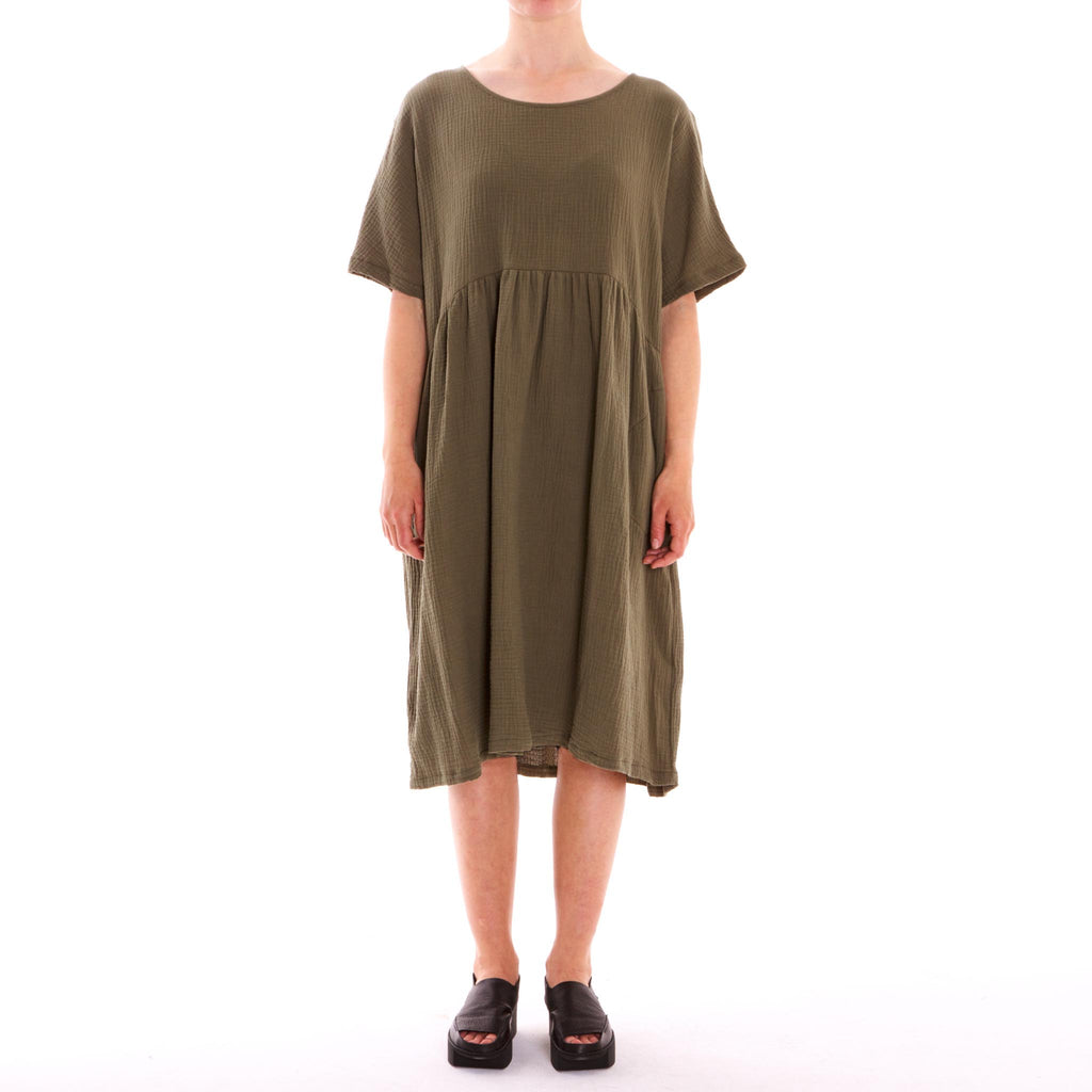 Half Moon Khaki 3/4 Cotton Dress