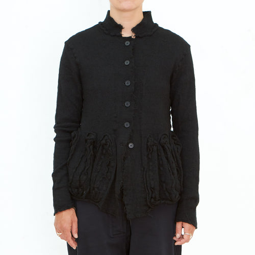 Rundholz, Black Button Cardigan with Applique 3897103-100 - Tiffany Treloar