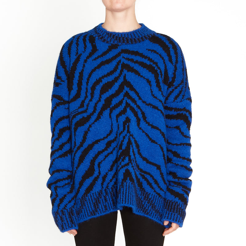 Lorena Laing, Amano Blue/Black Zebra Sweater - Tiffany Treloar